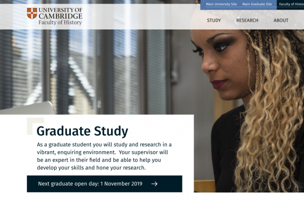 Faculty of History, University of Cambridge - website design graduate page