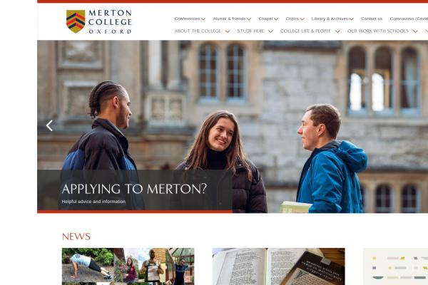 Merton College Oxford website homepage