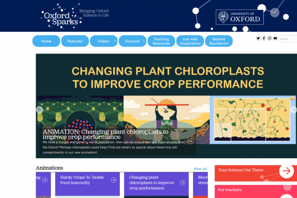 Oxford Sparks, University of Oxford - science outreach - website homepage