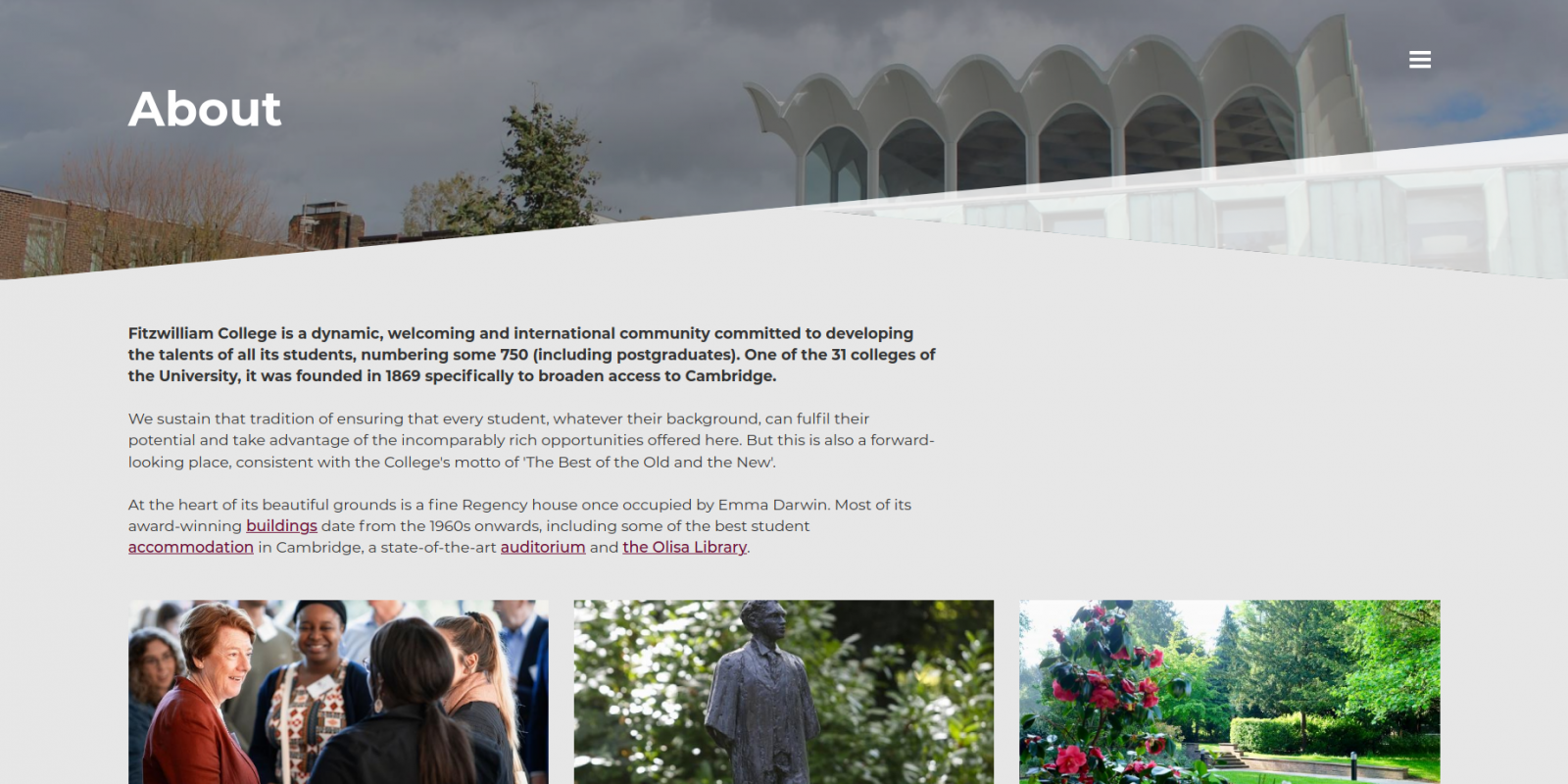 Fitzwilliam College, University of Cambridge - website about page