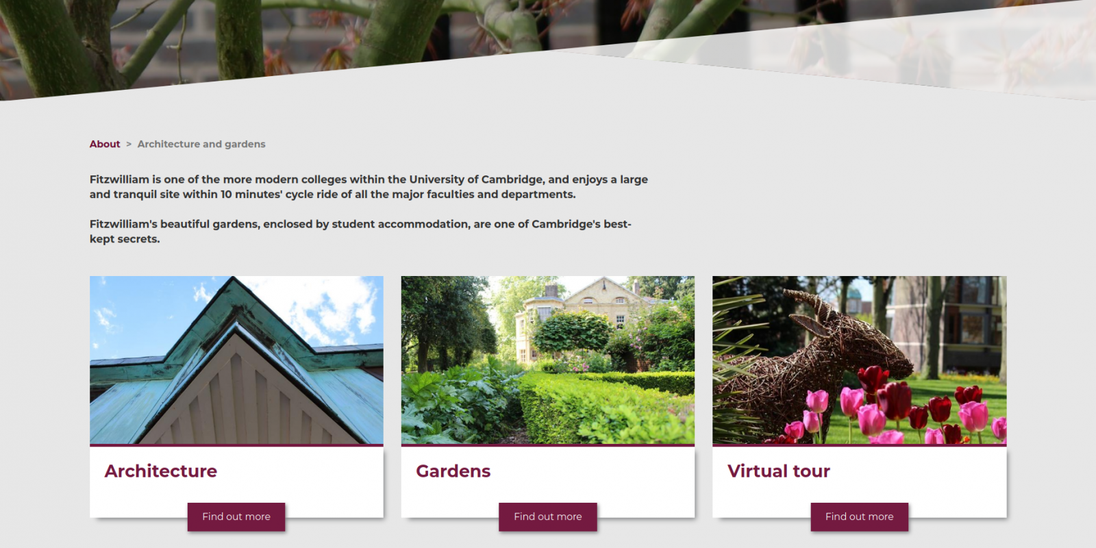 Fitzwilliam College, University of Cambrdge - website page on architecture and gardens