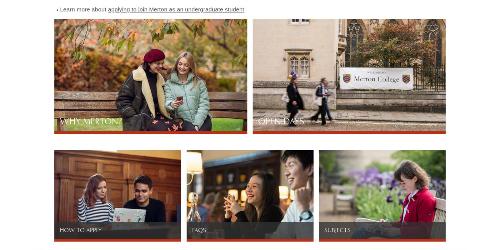 Merton College Oxford website undergraduate landing page