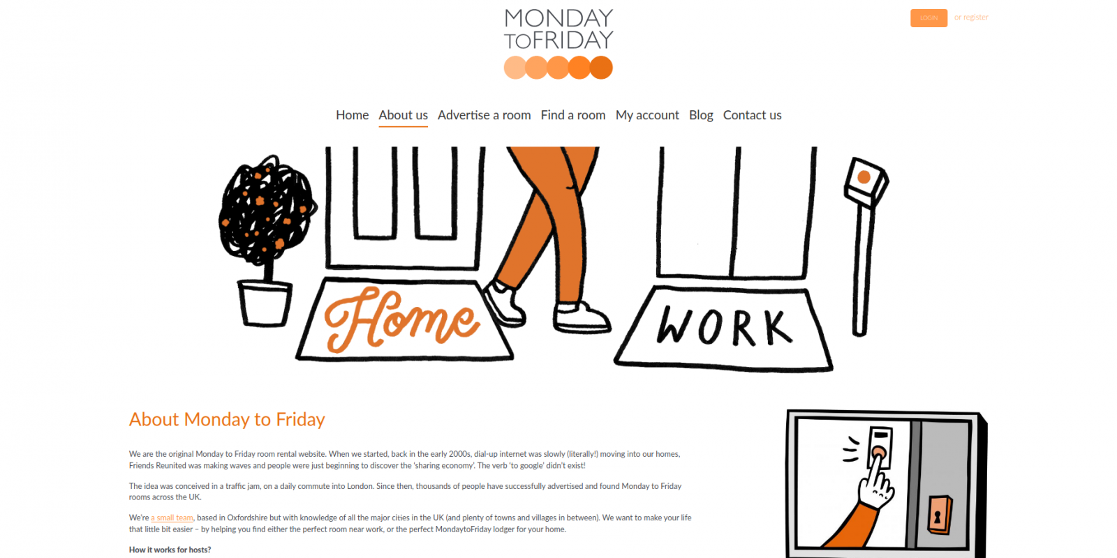 Monday to Friday room rental website - about page