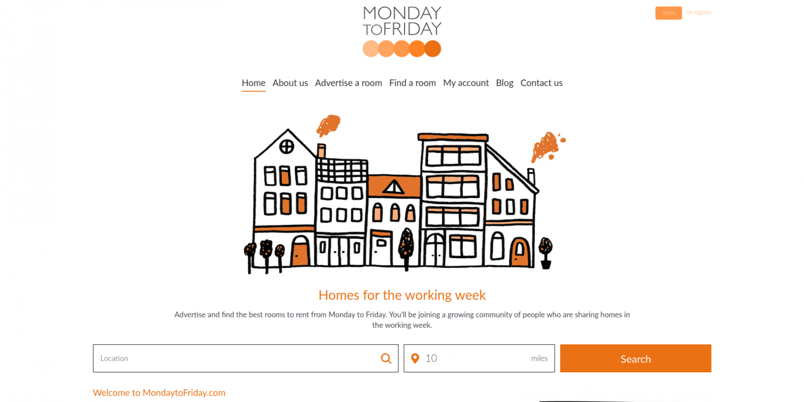 Monday to Friday room rental website - homepage