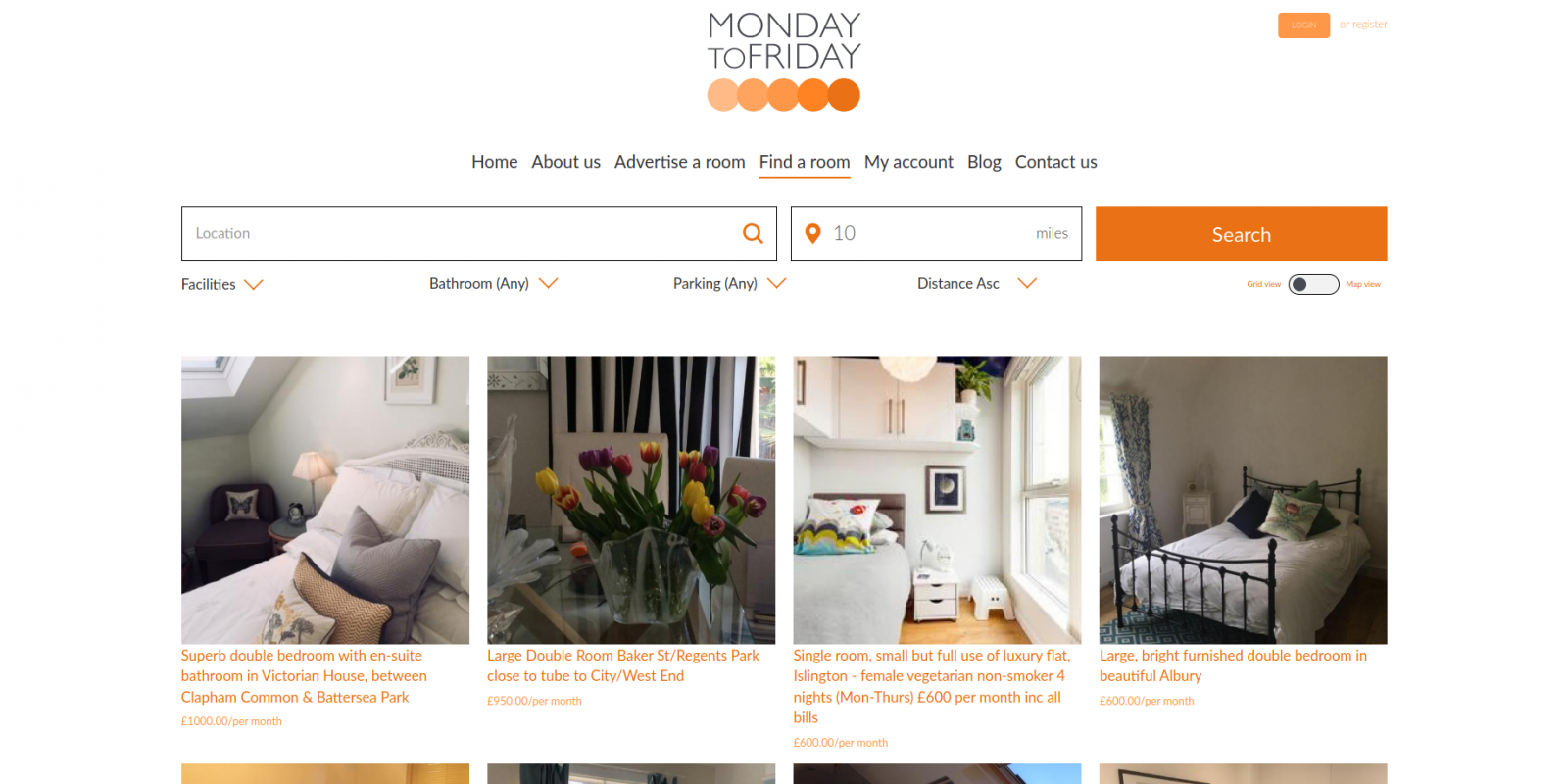 Monday to Friday room rental website - room search page