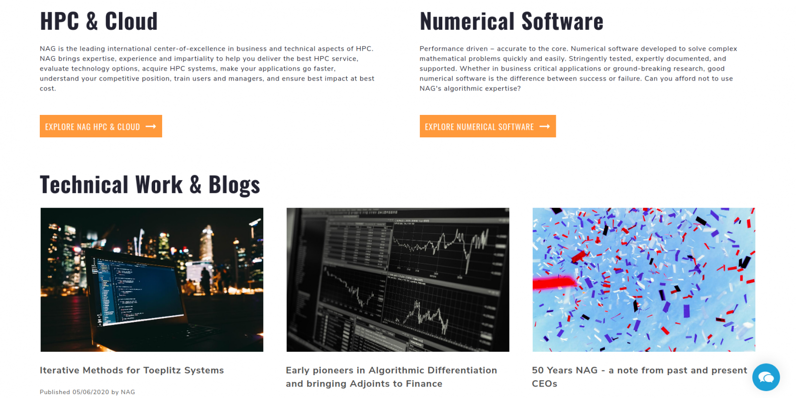 Numerical Algorithms Group - website homepage news listing