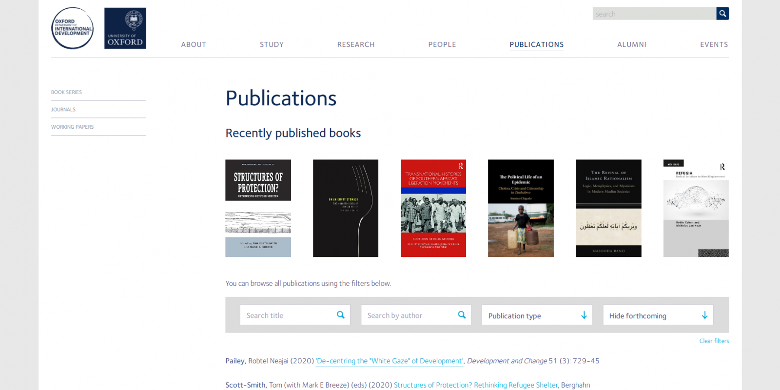 Oxford Department of International Development - website - publications page