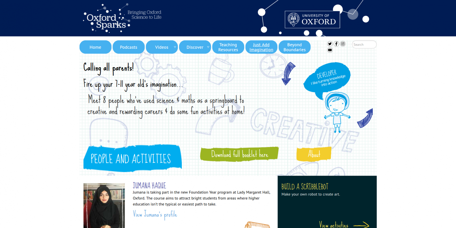 Oxford Sparks, University of Oxford - science outreach - website activities