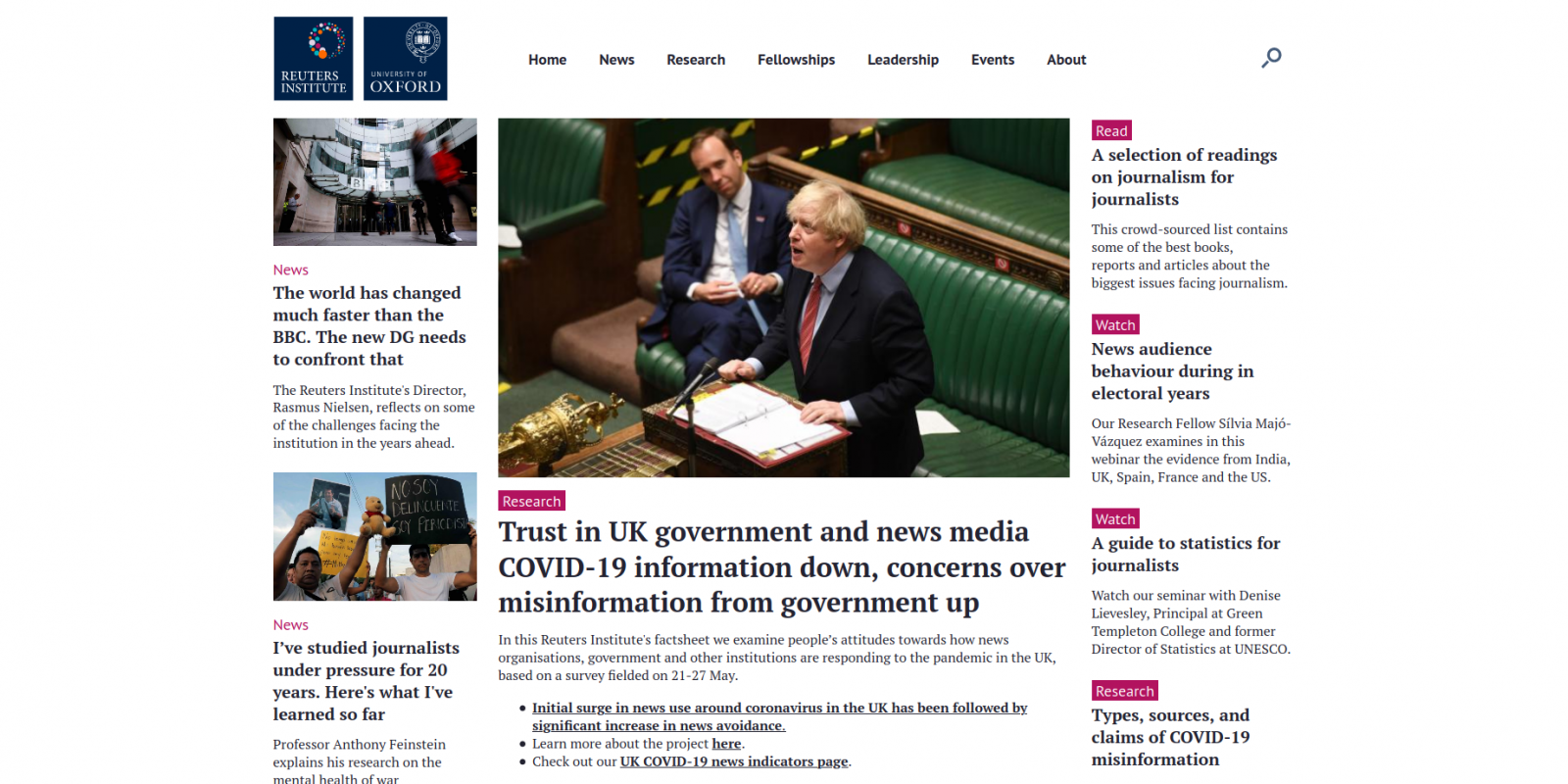 Reuters Institute, University of Oxford - website homepage