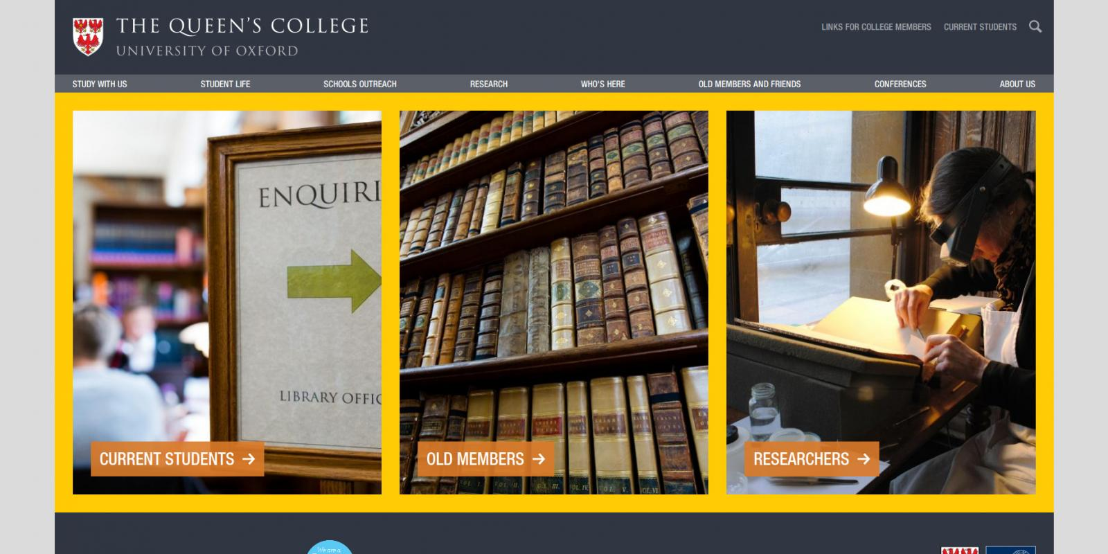 The Queen's College, University of Oxford - website - library page