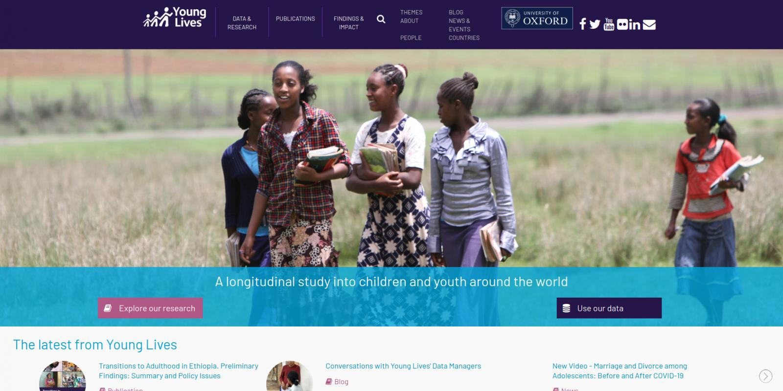Young Lives, University of Oxford - research project - website homepage