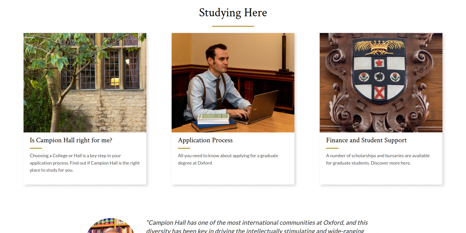 Campion Hall - University of Oxford - website graduate study page