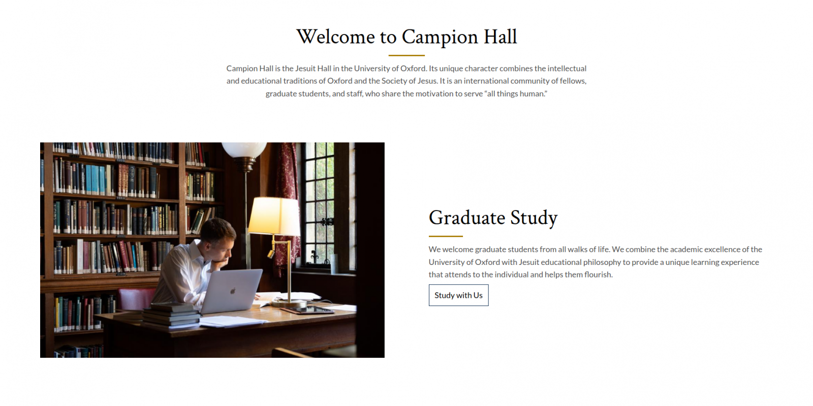 Campion Hall - University of Oxford - website homepage - study section