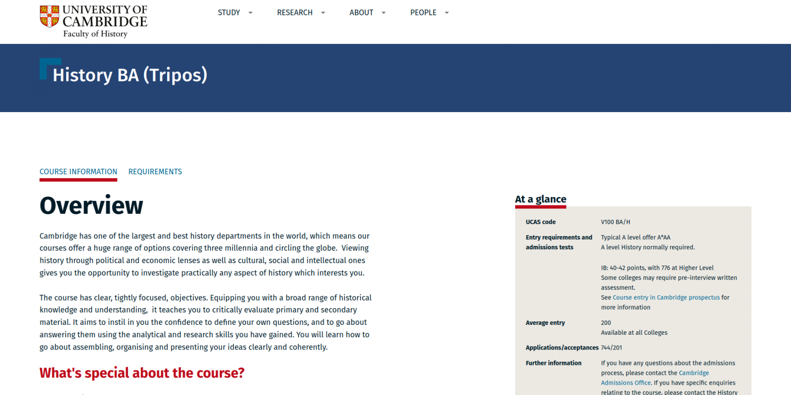 Faculty of History - University of Cambridge - website course detail page