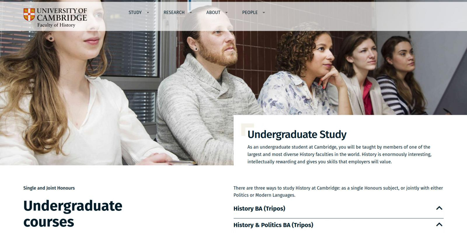 Faculty of History - University of Cambridge - website undergraduate study page